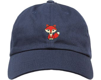 Premium Fox Hat Dad Cap Unstructured Adjustable W/ Brass Closure Patch **Free Domestic Shipping**