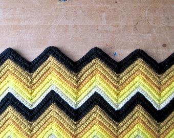 Vintage Crocheted Afghan Throw, Yellow Chevron Blanket, Zig Zag Blanket, Crocheted Blanket, Chevron Throw, Picnic Blanket, Lap Blanket