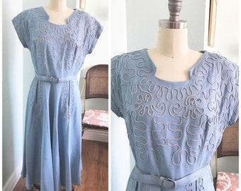 Vintage 1950's Robin's Egg Blue LinenDress with Rhinestones, Soutache Trim and pockets/ 50's dress / Size L