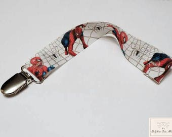 Ribbon pacifier clip - printed Spiderman