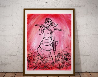 Waitress; Zombie Slayer print