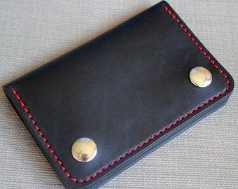 Chain wallet, biker wallet, mens leather wallet, small biker wallet, snap wallet, leather wallet, card wallet, bifold, Made in USA