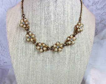 Vintage Celluloid and Clear Rhinestone Flower Gold Tone Necklace with Adjustable Length Hook