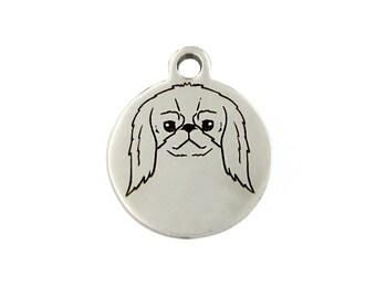 Japanese Chin Charm, Stainless Steel Japanese Chin Dog Charm, Japanese Chin Jewelry, Japanese Chin Bracelet Charm, Japanese Chin Gift