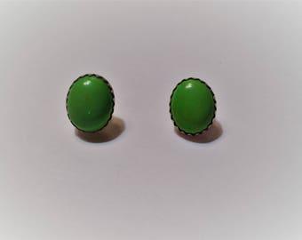 Vintage Native American Gaspeite Earrings Studs, Sterling Silver