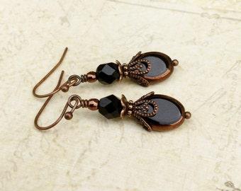 Black Earrings, Copper Earrings, Bronze Earrings, Czech Glass Beads, Womens Earrings, Unique Earrings, Gifts for Her, Black Jewelry