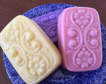 Floral Pastel Handmade Soap-Yellow Jonquil, Purple Lavender, or Pink Calla Lily