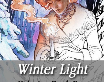 Printable Coloring Book Page for Adults - Winter Goddess with Snowy Trees Holding a Candle in Art Nouveau Style Line Art for Adults and Kids