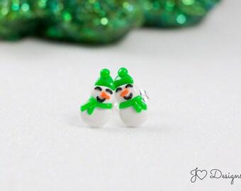 Snowmen Studs, Snowmen Earrings, Winter Studs, Winter Earrings, Christmas Studs, Christmas Earrings, Snowmen Gifts, Christmas Snowmen