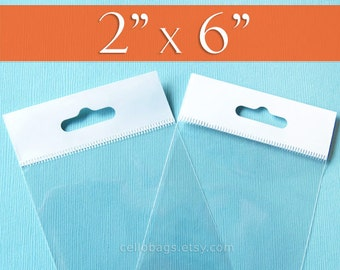 200 2 x 6 Inch HANG TOP Clear Resealable Cello Bags Packaging for Hanging on Display or Peg