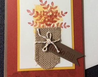 Fall, Autumn, Friendship, Burlap, Foliage, Handmade, stampin up, card