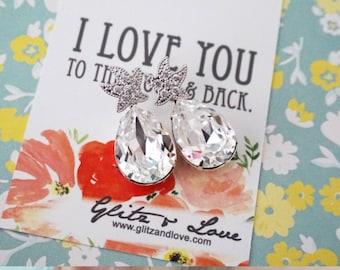 Starfish - Cubic Zirconia Starfish Earrings Swarovski Crystal Teardrop, gift for her, Bridal, Beach Wedding Earrings, Bridesmaids, silver