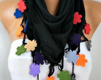 Black Pashmina Scarf,spring Scarf,Wedding Scarf,Bohemian,Cowl Scarf Felt Flower Gift for her Women's Fashion Accessories