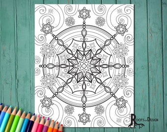 INSTANT DOWNLOAD Coloring Page - Snowflake Mandala Design, doodle art, printable Design 9