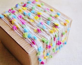 Pastel Rainbow Tiny Pom Pom garland- wedding party craft supply, scrapbook embellishment, specialty gift wrap, novelty trim- 5 yds