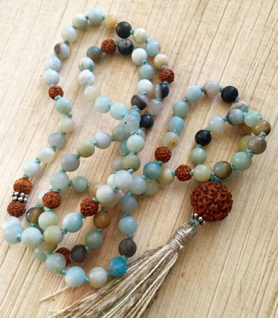 Amazonite Mala Beads - Rudraksha Mala Necklace - Heart Chakra Mala Beads - Mala Beads for Courage - 108 Mala Beads - Buddhist Prayer Beads -