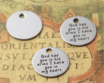 10pcs god has you in his arms I have you in my heart charm silver tone message charm pendant 20mm ASD2514
