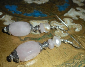 "Earrings ""shell Pearl"" - rose quartz, glass pearls, 925 sterling silver"