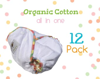 AiO 12 Pack Organic Cotton Cloth Diapers One Size