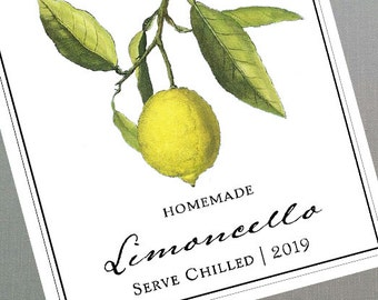 Limoncello, Lemoncello Labels or Tags,  DIY Gift, with Botanical Motif, European Style, set of 18