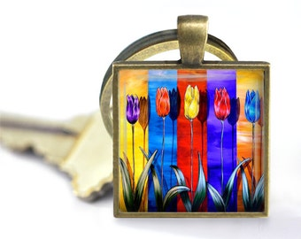 Rainbow Tulips Pendant, Necklace or Key Chain - Spring Flowers, Pendant Necklace, Keychain - Choice of Silver, Bronze, Copper or Black Bezel