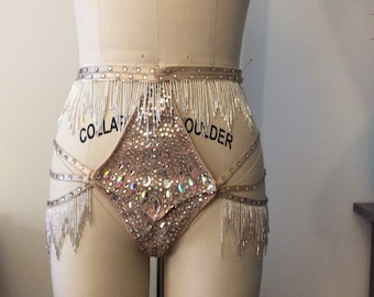 High waisted, tear away panty with back coverage, silver beaded fringe