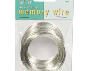 "Beadsmith Silver Plated Memory Wire 2"" Diameter, 1 Ounce"