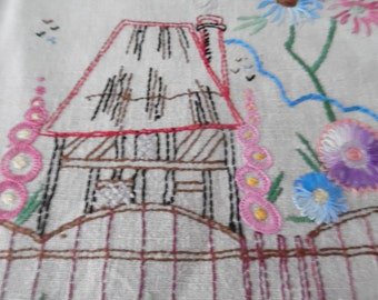 Vintage Linen Hand Embroidered Table Runner. Table cloth.Afternoon Tea table runner.