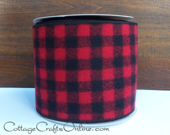 "Wired Ribbon, 4"" Red and Black Buffalo Plaid Flannel - TEN YARD ROLL -  Christmas / Wreath / Decor / Craft Check Wire Edge Ribbon"
