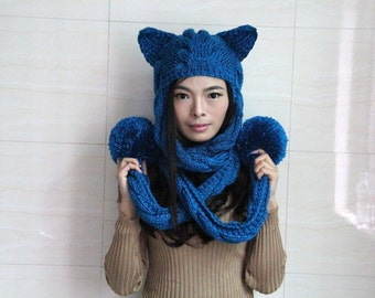 Hand Knit Cat Hat,knitting hat ,Cat Beanie, Women's Knit Hat, Knitted Cat Ear Hat, Cat Ear Beanie,  Chunky Hat,Add a scarf hat