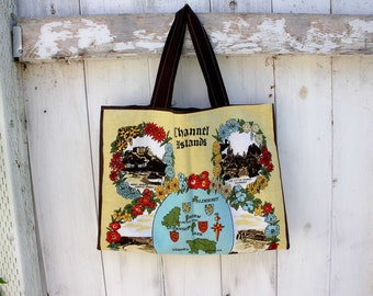 """Upcycled Channel Islands Souvenir Tote, 17""""x13"""", grocery tote bag, library tote bag, OOAK, eco bag, Channel Islands, market tote bag"""