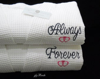 Monogram Robes Forever and Always, Couples Robes, Personalized Robes, Cotton Waffle Bathrobes, 2nd Anniversary Gift, 1801 Set of 2 Robes