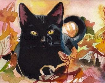 Black Cat Print for Instant Download Digital Art Picture of Cat autumn Halloween.