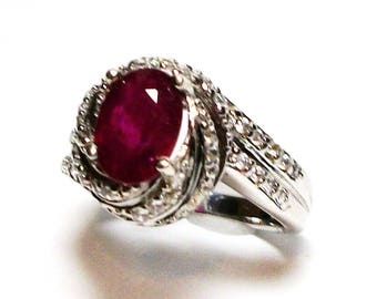 """Ruby ring, genuine ruby, ruby accent ring, engagement ring, anniversary ring, red,  s 7    """"Red Delicious"""""""