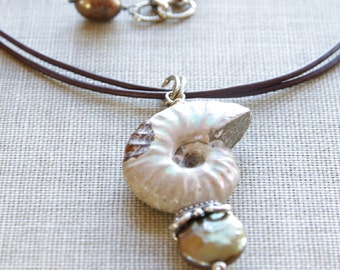 Ammonite Jewelry Brown Necklace Ammonite Fossil Pendant Pearl Leather Jewelry Sterling Silver Ammonite Necklace Fossil Jewelry
