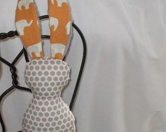 Organic Orange and Gray Elephant and Polka Dots Bits The Bunny Plush Rattle