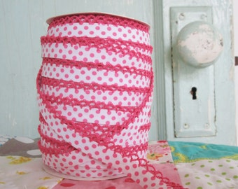 Fuchsia on White Polka Dot Crochet Edge Bias Tape (No. 203). Children's Clothing Sewing Supplies.  Double Fold quilt bias. Quilting supplies