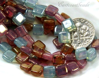 Square Tile Beads, 6 mm, Glass Tile Beads, Pink, Purple And Blue, 2 Hole Beads, 6mm, Accent Beads, Spacer Beads, 25 Pieces