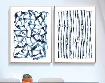 Set of 2 Prints, Abstract Art Prints, Large Wall Art, Printable Abstract Art, Navy Blue Wall Art, instant download Art, Minimal Art A1 Print
