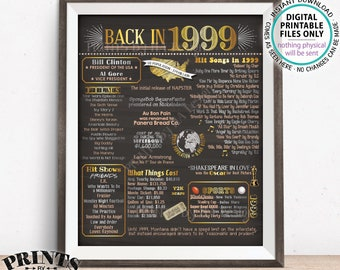 "1999 Flashback Poster, Flashback to 1999 USA History Back in 1999 Birthday Anniversary Reunion, Chalkboard Style PRINTABLE 16x20"" Sign <ID>"