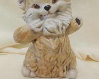 Standing Persian Cat Figurine, Vintage Hand-Painted Ceramic Cat Figurine, Vintage Cat Figurine, Brown and Cream Cat Figurine