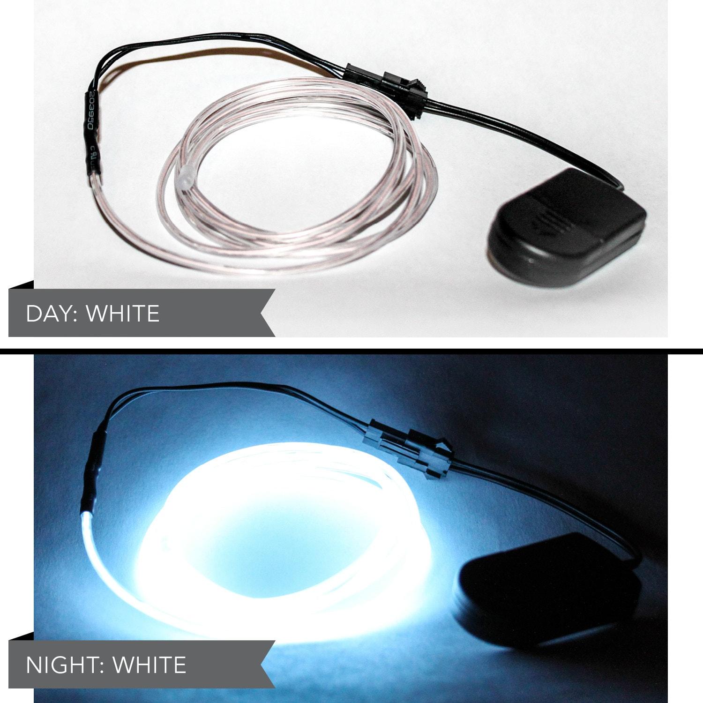 4 Fuß LED-El-Draht-Kit mit 2032 Lithium-Akku weiß Batterien