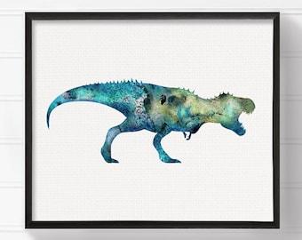 Dinosaur Art Print, Dinosaur Poster, Dinosaur Wall Decor, Dinosaur Wall Art, Watercolor Dinosaur, Watercolor Print, Kids Room Decor, T Rex