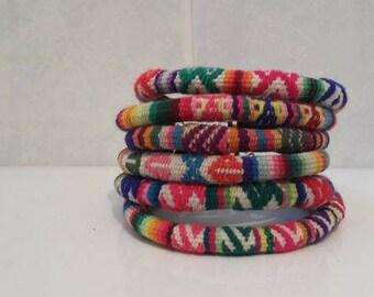 Wholesale Lot 5  Peruvian vintage fabric textile Bracelets Handmade Peru