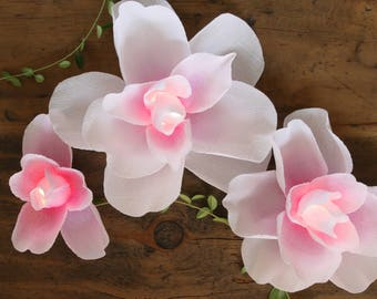 Rose Tinted Magnolia Centerpiece - Illuminated Paper Flower Wedding Event Decoration