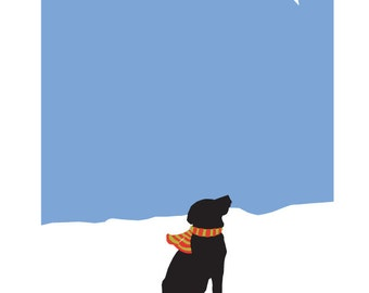 Black Lab wishing on a starl Illustration matted in 11 x 14 inch white mat