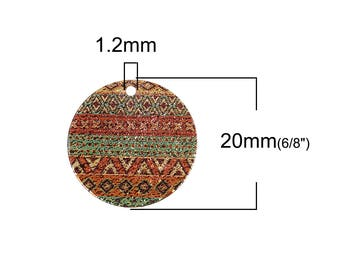 2 charms enamel paint ethnic gold 20mm round