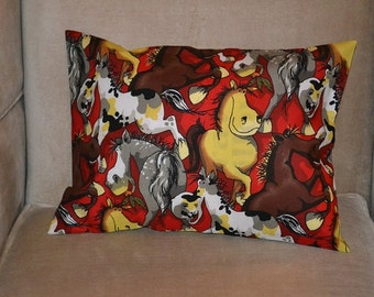 Travel Pillow Case / Accent Pillow Case of various FUNNY FARM HORSES