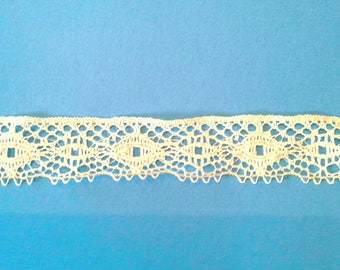 Natural Ecru Flat Lace Sewing Trim 2 Pieces Total 9 Yards by  1 1/8 Inches Wide L0685