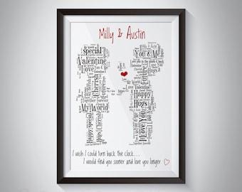 Personalised Cute Valentines Day Boyfriend and Girlfriend Word Art Print
